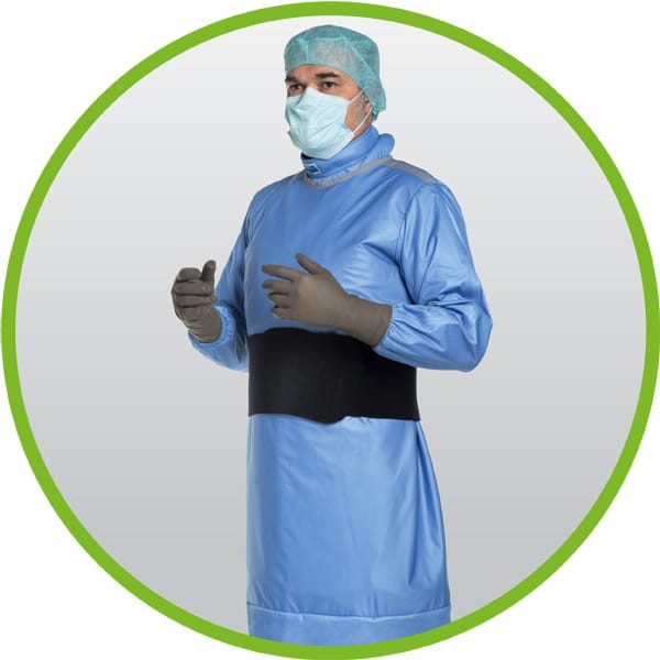 Radioprotective surgical gown